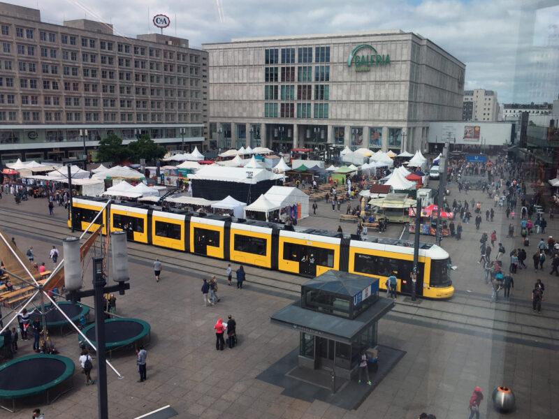 Berlin Public Transport: Tram crossing ALexanderplatz m