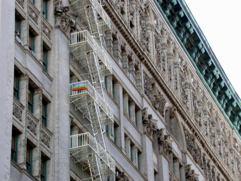 New York: white facade, fire ladder