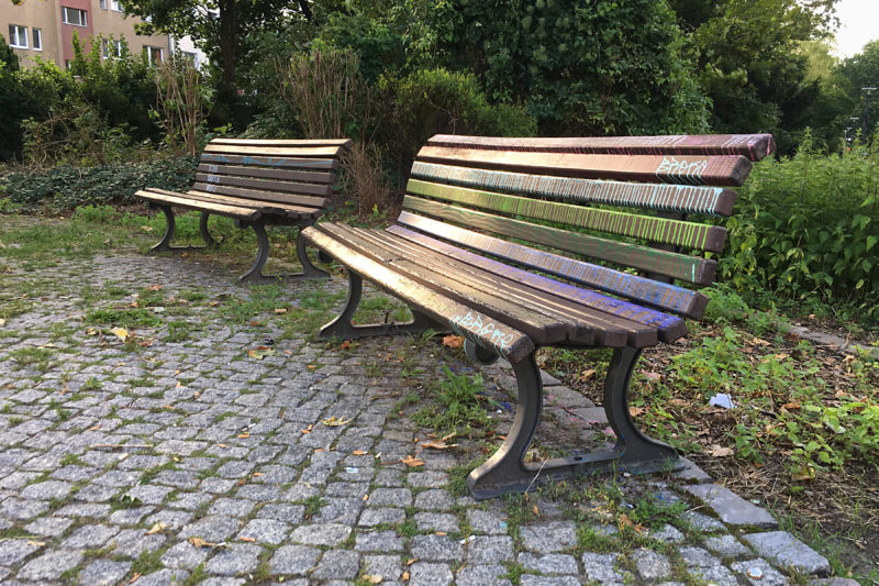 Rainbow colored park bench, Berlin
