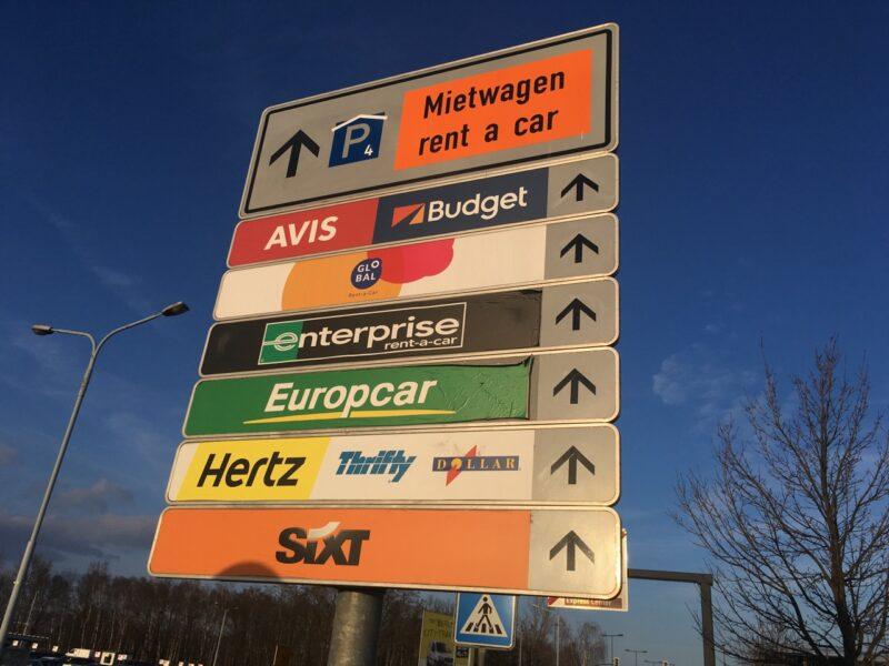 Rental Car Sign at Airport Schoenefeld